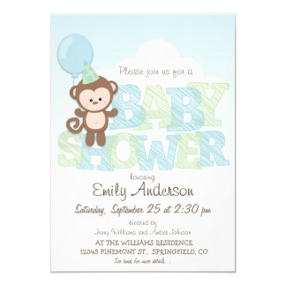 Cute Monkey; Blue & Green Baby Shower 5x7 Paper Invitation Card