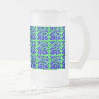 Cute Monkey Blue Lime Green Animal Pattern Glass Beer Mugs
