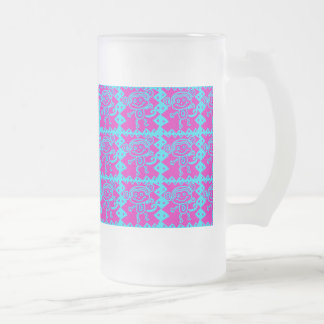 Cute Monkey Magenta Teal Animal Pattern Kids Gifts Frosted Glass Mug