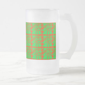 Cute Monkey Orange Green Animal Pattern Glass Beer Mug