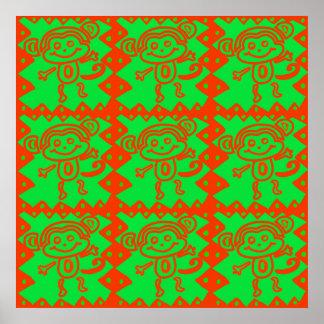 Cute Monkey Orange Green Animal Pattern Posters