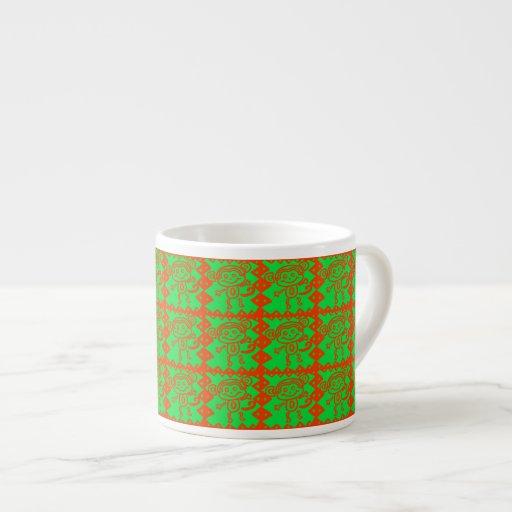 Cute Monkey Orange Green Animal Pattern Espresso Mug