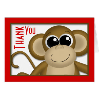 Cute Monkey Red Thank You Card