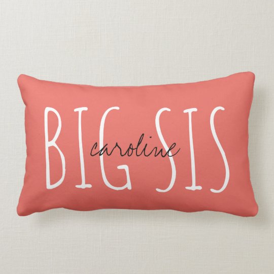 Cute monogram BIG SIS w/ name Lumbar Cushion