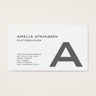 Cute Monogram Modern Black White Minimalist Business Card