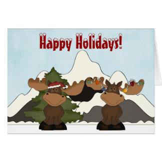 Cute Moose Mountain Christmas Card
