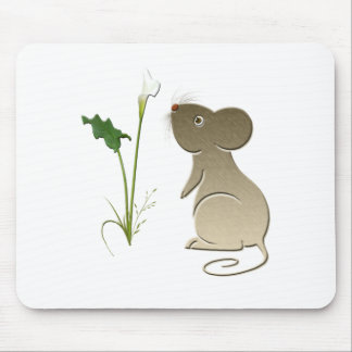 Cute Mouse and Calla Lily Mouse Pad