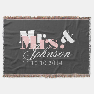 Cute Mr and Mrs throw blanket for newlywed couple