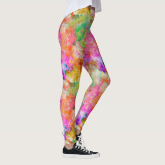 Cute Multicolor Watercolor Art Leggings