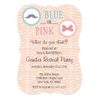 Cute Mustache & Bow Gender Reveal Invite