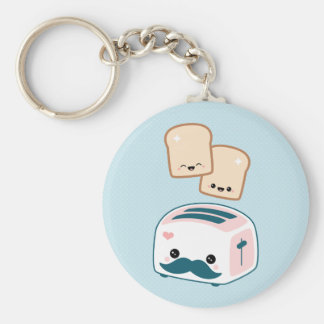 Cute Mustache Toaster Key Ring