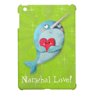 Cute Narwhal with Heart iPad Mini Cover