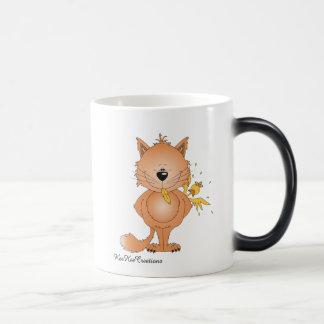 Cute Naughty Kitty Cat Cartoon and Friend Magic Mug