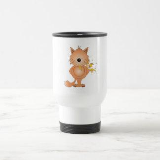 Cute Naughty Kitty Cat Cartoon and Friend Travel Mug