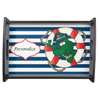 Cute Nautical Alligator Theme Serving Tray Serving Trays