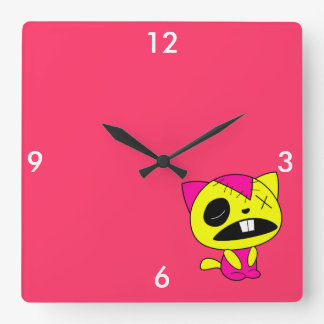 Cute Neon Zombie Kitty Cat Square Wall Clock