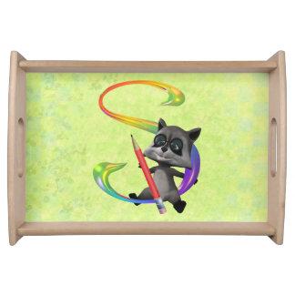 Cute Nerd Raccoon Monogram S Serving Trays