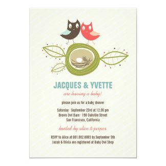 Cute Nesting Owls Family Couple Baby Shower Invite