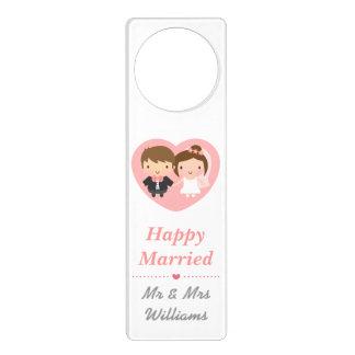 Cute Newlyweds Happily Married Couple Door Knob Hangers