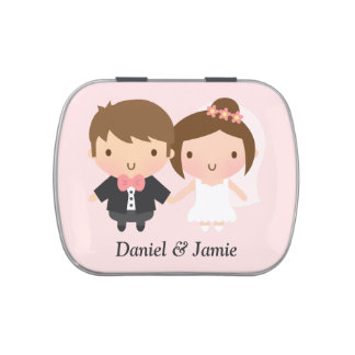 Cute Newlyweds Wedding Couple Jelly Belly Candy Tins