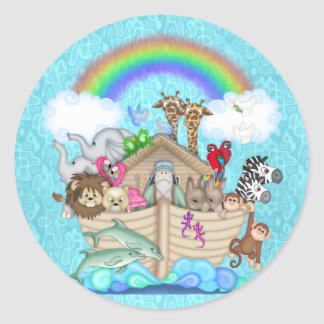 CUTE NOAHS ARK  FOR BABY  SHOWER FAVORS CLASSIC ROUND STICKER