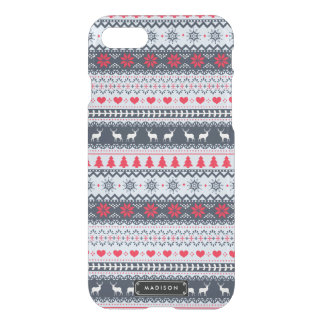 Cute Nordic Folk Holidays Navy Red Pattern Custom iPhone 8/7 Case