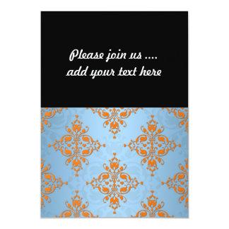 Cute Orange and Blue Damask 13 Cm X 18 Cm Invitation Card