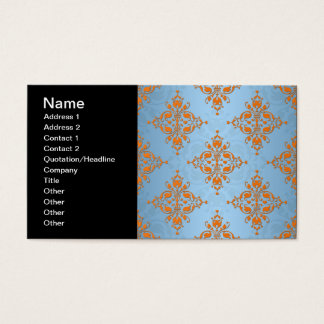 Cute Orange and Blue Damask Business Card