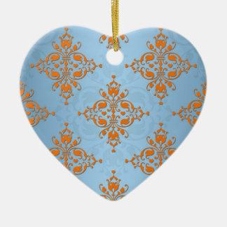 Cute Orange and Blue Damask Ceramic Heart Decoration