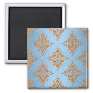 Cute Orange and Blue Damask Square Magnet