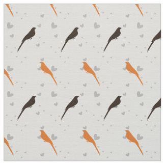 cute orange and brown birds pattern fabric