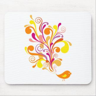 cute orange bird mouse pad