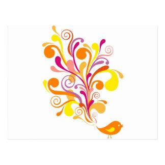 cute orange bird postcards