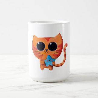 Cute Orange Cat with Star Mug