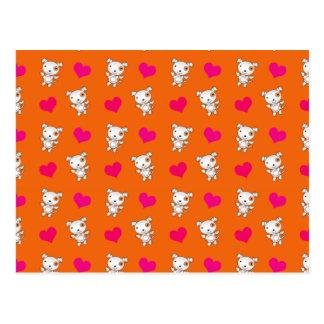 Cute orange dog hearts pattern postcard