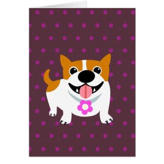 Cute Orange Dog & Polka Dots Greeting Card