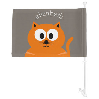 Cute Orange Fat Cat with Taupe Personalised Car Flag