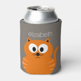 Cute Orange Fat Cat with Taupe Personalized Can Cooler
