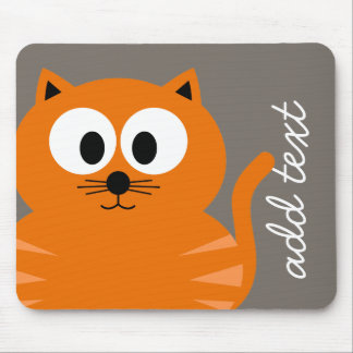 Cute Orange Fat Cat with Taupe Personalized Mouse Pad