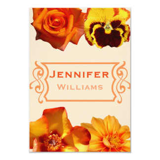 Cute orange floral bridal shower invitations