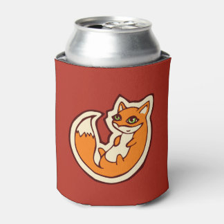 Cute Orange Fox White Belly Drawing Design Can Cooler