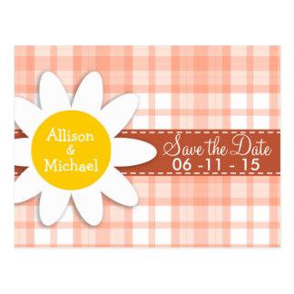 Cute Orange Plaid Daisy Post Card