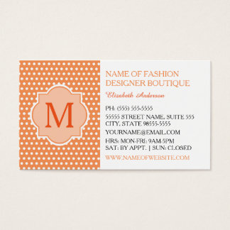 Cute Orange Polka Dots With Girly Monogram Fashion Business Card