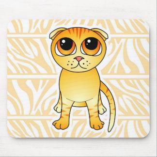 Cute Orange Scottish Fold Cat Cartoon Mouse Pad