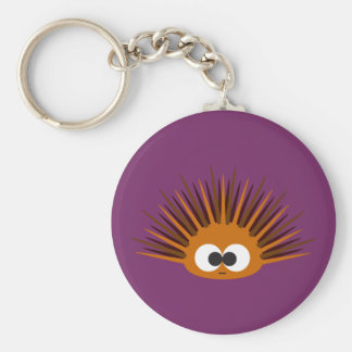 Cute Orange Spiny Sea Urchin Basic Round Button Key Ring