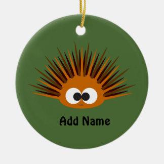 Cute Orange Spiny Sea Urchin Round Ceramic Decoration