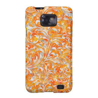 Cute orange swirl floral design samsung galaxy s2 cases