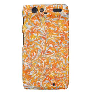 Cute orange swirl floral design droid RAZR cover