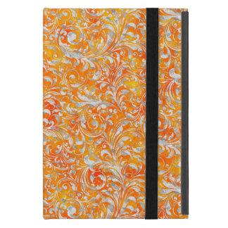 Cute orange swirl floral design iPad mini case