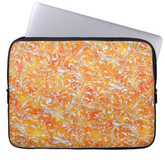 Cute orange swirl floral design laptop sleeves